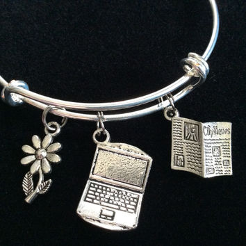 News Paper Reporter Writer Computer, Newspaper and Daisy Charms on a Silver Expandable Adjustable Bangle Bracelet Trendy Stacking Handmade Gift