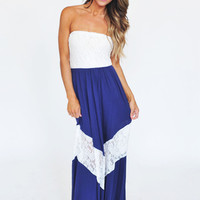 Lace Tube Maxi Dress- Navy