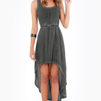 Others Follow Pick Me Up Washed Grey High-Low Dress
