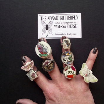 Vintage Broken China Mosaic Ring- Butterflies - Oversize - Statement - 1972 - Moths Flies - Monograms and More!