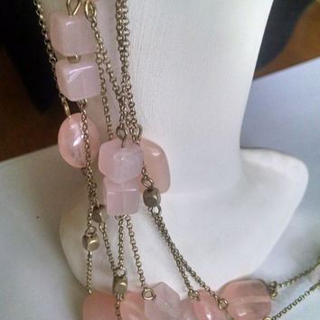 Vintage Monet Necklace Pink Quartz Beads Gold Tone Chain 3 Strands Gift for Her Birthday Christmas Mothers Day