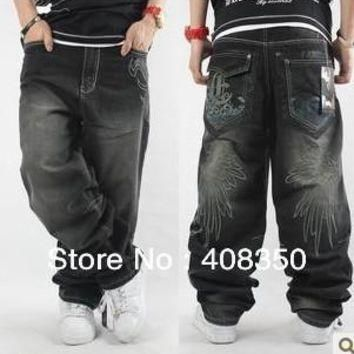 Plus Size Supreme Hip Hop Men's Embroideried Printing Jean Pant, Fashion Loose Skatebo