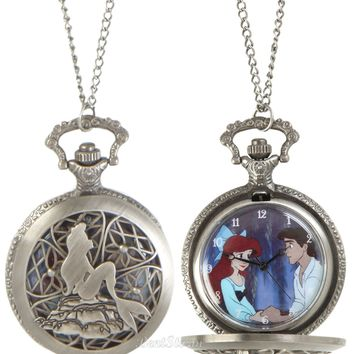 Licensed cool Ariel & Eric Disney The Little Mermaid  Boat Scene Pocket Watch Pendant NECKLACE