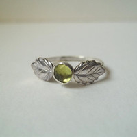 Peridot Ring, Leaf Ring, Hammered Sterling Silver Ring, Handforged, Rose Cut, Green Gemstone