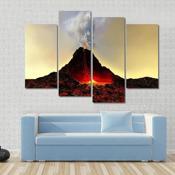 An Active Volcano Spews Out Hot Red Lava And Smoke Multi Panel Canvas Wall Art