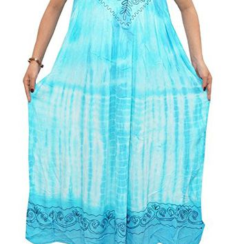 Mogul Womans Blue Tie-Dye Embroidered Sleeveless Caftan Dress / Cover Up XXL