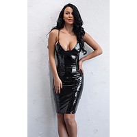 Don't Be Late PU Faux Leather Sleeveless Spaghetti Strap Plunge V Neck Bodycon Mini Dress - 3 Colors Available