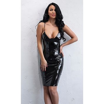 Don't Be Late PU Faux Leather Sleeveless Spaghetti Strap Plunge V Neck Bodycon Mini Dress