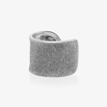 metallic silver florentine finish white gold cuff ring