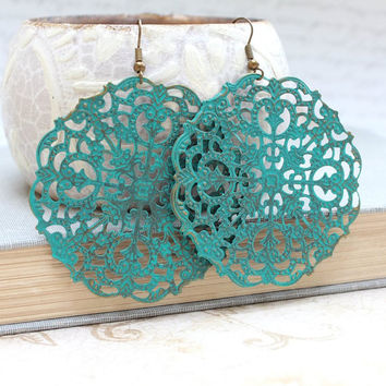 Large Filigree Earrings Teal Dangle Earrings Large Drop Lacy Pattern Spanish Doily Turquoise Rustic Patina Jewelry Big Boho Chic Earrings