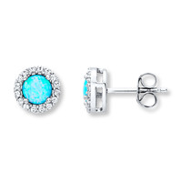 Lab-Created Blue Opal Earrings Sterling Silver