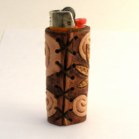 Hand tooled leather lighter cover-Fully tooled hemp leaves and swirl