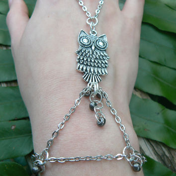 bohemian owl hand chain Fantasy and whimsical slave bracelet