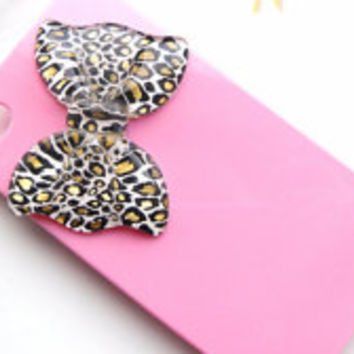 Pink Cute Leopard Bow Embellished Iphone 4 4S 5 5S 5C, Blackberry, HTC, Android, Xperia Phone Hard Case, Decoden, Print, Girly