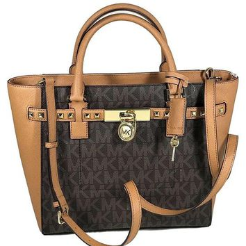 DCCK2JE Michael Kors Women's Hamilton Traveler STUDDED Large TOTE Leather Handbag (Brown/Acorn)