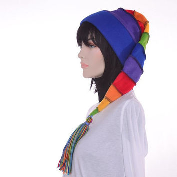 Rainbow Hat Long Stocking Cap Blue Brim Toboggan Hat Pointed Hat Women Hat Men Hat Colorful Hat