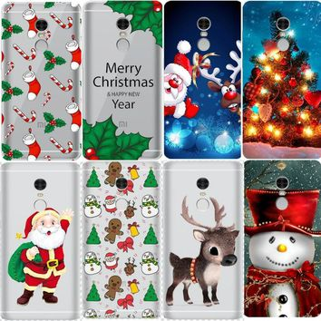 Merry Christmas Cute Santa Claus Painted Crystal Flower Cases for Xiaomi Redmi 4X Note 4X 3 3S Pro Note 5A Case Coque