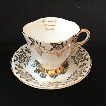 Mismatched Montreal Canada Souvenir Teacup, Vintage China Tea Cup, Canadian Coat of Arms and Emblems, Home and Living