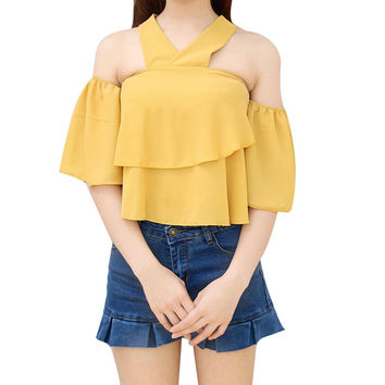 Summer Chiffon Short Ruffles Sleeves Blouse