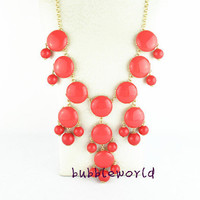 Color Full BIB Statement Bubble Necklace - Coral Red