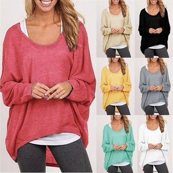 Women Ladies New Oversized Loose Long Sleeve Shirt Blouse Baggy irregular Tops Jumper [8805186631]
