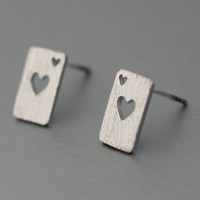Poker Card Heart Pendant earring with silver post  -  Available color as listed ( Gold, Silver )