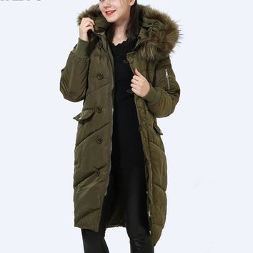 Faux Fur Hooded Winter Jacket Women Thicken High Quality Down Cotton Coat Warm Loose Parka