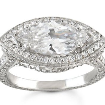 Ladies Platinum pave diamond engagement ring for 2ct Marquise white sapphire and 1 ctw G-VS diamonds