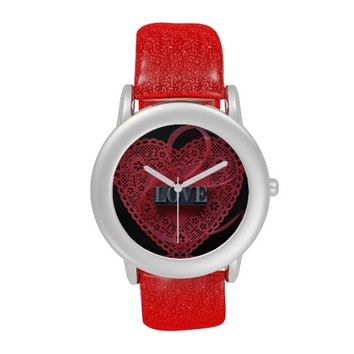heart doily with love word glitter watch