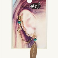 Boho Feather Cuff Earring Pair