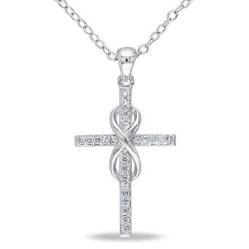 1/10 CT. T.W. Diamond Cross with Infinity Pendant in Sterling Silver - Save on Select Styles - Zales