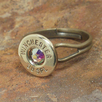 Bullet Ring - Winchester 38 SPL -  AB Crystal
