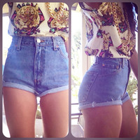 Plain Vintage denim high waist shorts cuffed by RepurposedApparel