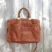 Brown Leather Bag LAPTOP Shoulder Bag Preppy College Messenger Purse Distressed Office Work Bag