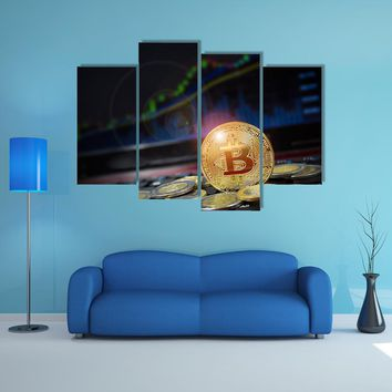 Bitcoin With US Dollar Competition With Candle Chart Multi Panel Canvas Wall Art