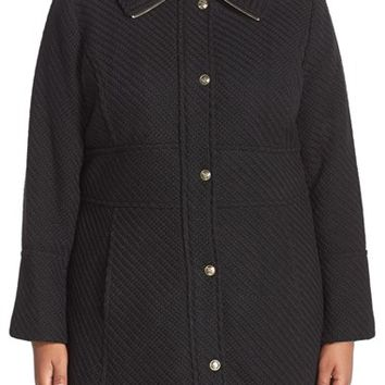 Plus Size Women's Jessica Simpson Basket Weave Fit & Flare Coat,