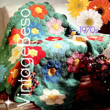 Afghan Crochet PATTERN Vintage 1970s Afghan Grandmas Flower Garden Crochet Pattern Home Decor Boho Vintage Beso Instant Download PDF Pattern