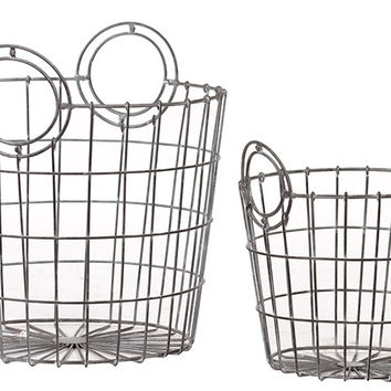 Charming French Market Bag Replica Metallic Wire Mesh Basket Set Of Two