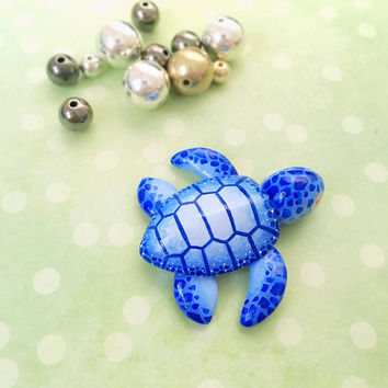 Fantasy baby sea turtle animal figurine, kawaii baby turtle, blue turtle figurine, fantasy turtle, turtle charm, turtle animal figurine