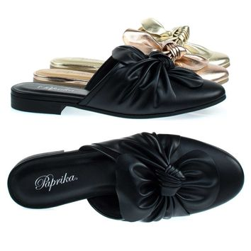 Tapper Flat Round Toe Mule w Oversize Bow Topping, Women's Open Back Loafer