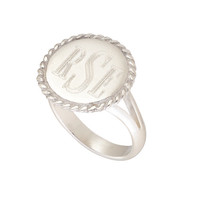Girls Personalized Silver Ring Monogram by CayteeBellesCloset