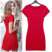 Red Short-Sleeve Zipper-Back Mini Dress