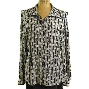 Vintage Abstract Print Shirt - Button Down Black and White Geometric Avant Garde Goth - Women's Size Medium Med M - Sale