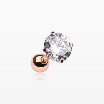 Rose Gold Round Gem Crystal Cartilage Tragus Earring