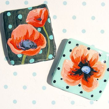 Polka Dot Poppy Magnet Set of 2 Seafoam Black Dots Cute Kitchen decor Hand painted Ceramic Accent Gift
