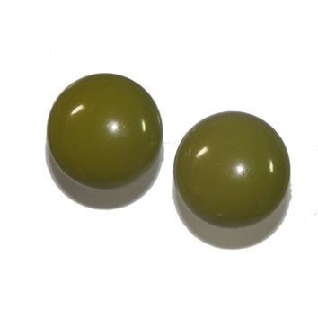 1940s Vintage Plastic Round Button Style Earrings, Green