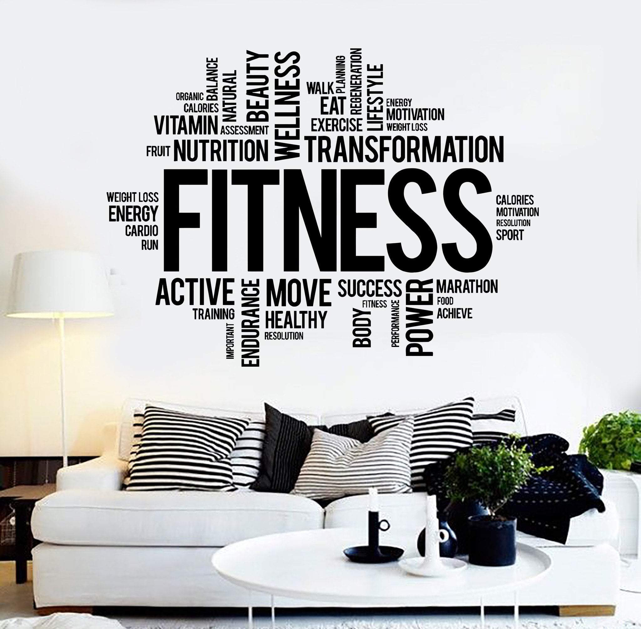 Vinyl Wall Decal Fitness Word Cloud Healthy lifestyle Gym Motivation  Stickers Unique G 96a4afe0d4