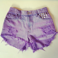 Cotton Candy high waisted denim shorts in Lilach