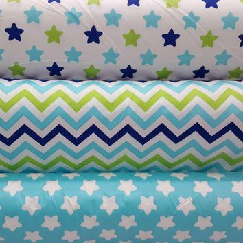 100% Cotton twill cloth nordic wind simple white/blue stars zigzag for DIY clothes bedding sheet cushions quilting telas fabrics