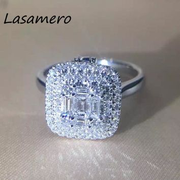 LASAMERO 0.69CT Square Cut 11*11mm Certified Natural Diamond Ring 18k Gold Real Diamond Engagement Wedding Ring Gemstone Ring